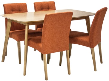 Home4you Dining Set Enrich 4 Orange/Oak