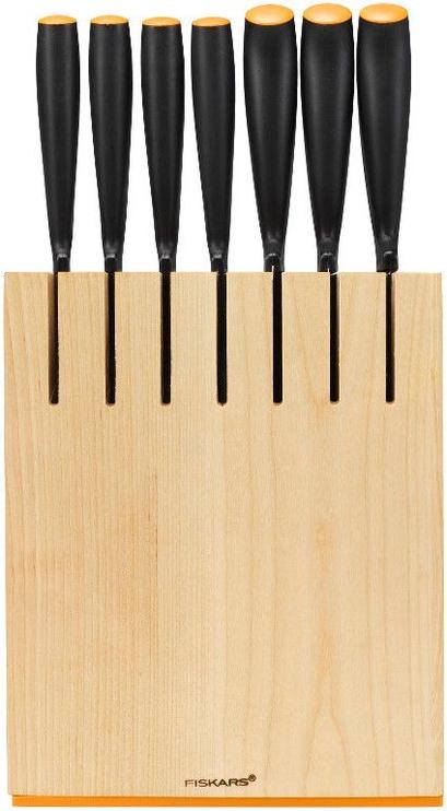 Fiskars Functional Form Birchwood Knife Block with 7 Knives