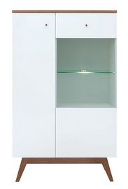Black Red White Heda REG1D1W Glass Door Cabinet White/Larch Sibiu Gold