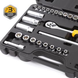 """Padrunvõtmete komplekt Forte Tools, 3/8"""", 6-24 mm, 34 tk"""