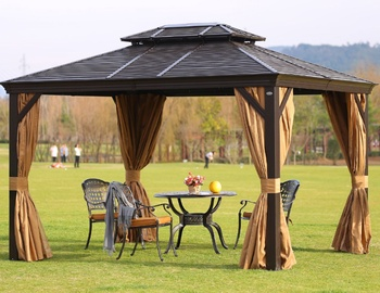 Home4you Sunset Gazebo w/ Metal Roof 3x4m Brown/Beige