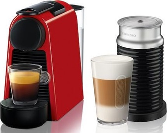 Nespresso Coffee Machine w/ Milk Frother Essenza Mini D30 EN85.R Red