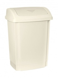 Plast Team Rubbish Bin With Swing Lid 24.5x19.3x35.2 10l Beige
