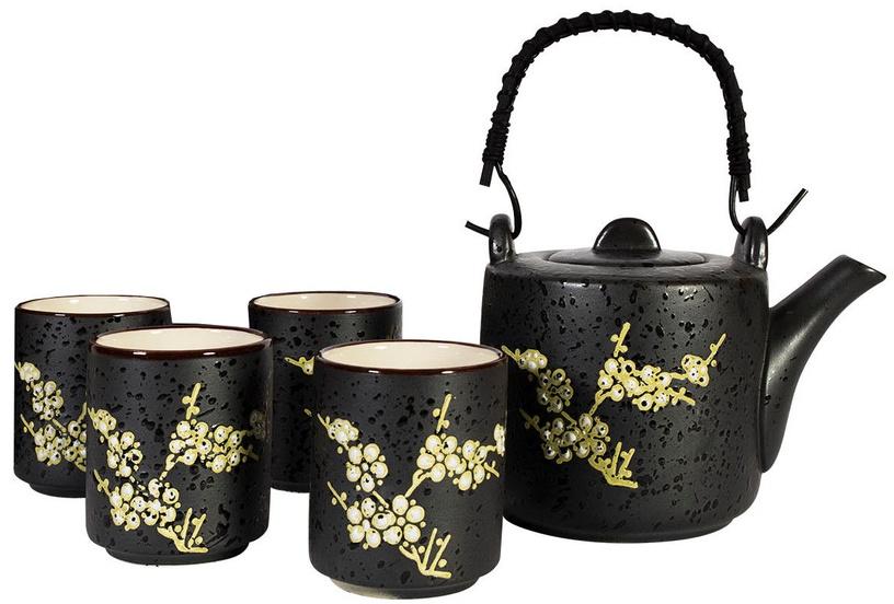 Home4you Tea Set Yang 5pcs Black Flower
