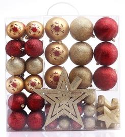 Jõulupuu ehe DecoKing Susi, kuldne/punane, 76 tk