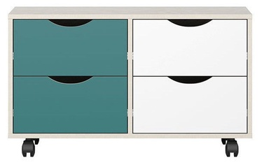 Black Red White Stanford Chest Of Drawers Gray/Turquoise