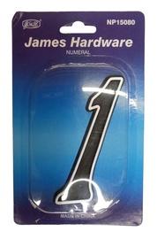 """James Hardware Numeral """"1"""" 150mm Black"""