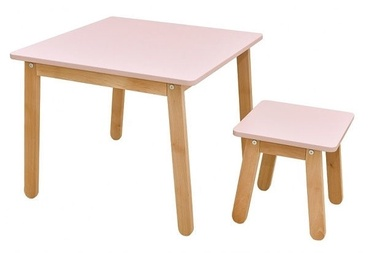 Lastemööbli komplekt Bellamy Woody Table And Stool Pink