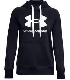 Under Armour Women's Rival Fleece Logo Hoodie 1356318 001 Black L