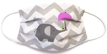 MamoTato Child Face Mask With Filter Pocket White Elephants