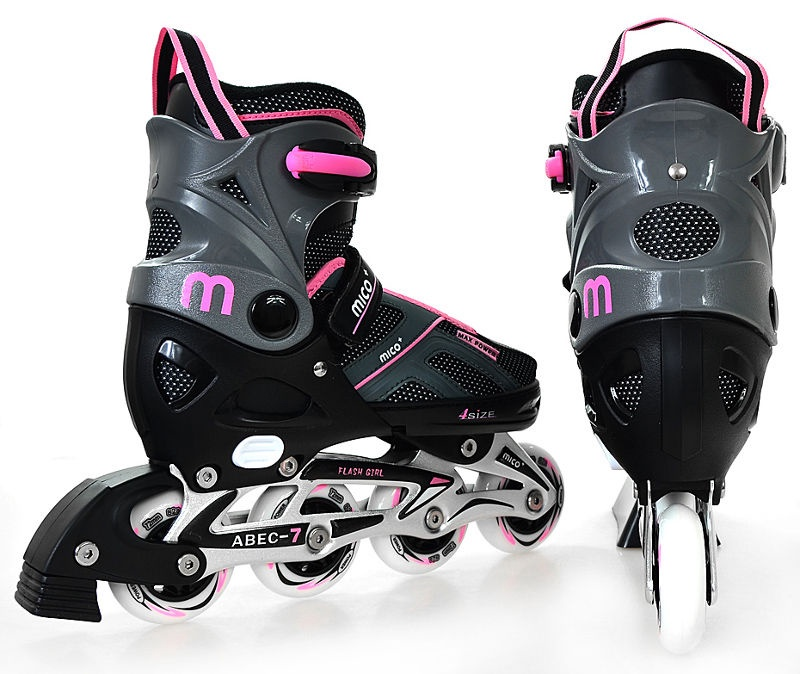 Rulluisud Mico Plus Flash Girl Black/Pink, 33-36