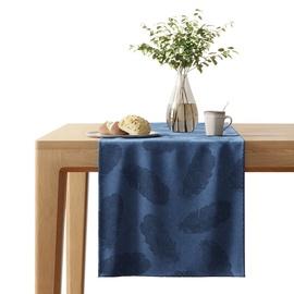 AmeliaHome Velvet AH Tablecloth Peacock Navy 40x140cm