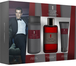 Набор для мужчин Antonio Banderas The Secret Temptation 100 ml EDT + 75 ml Aftershave Balm + 150 ml Deodorant Spray