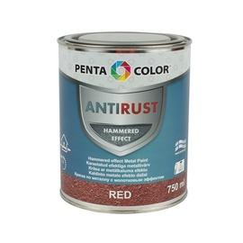 Pentacolor Enamel Paint Universal Antirust Hammered Effect 0.75l Red