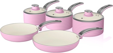 Swan Retro 5 Piece Pan Set SWPS5020PN Pink