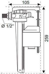 Wirquin Jollyfill 1/2 Side Inlet Supply Metallic