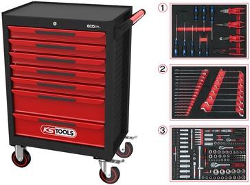 KSTools ECOline Black/Red Tool Cabinet w/215 Premium Tools