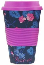 Tesoro 100% Eco Bamboo Fibre Mug With Silicone 480ml Flower Violet