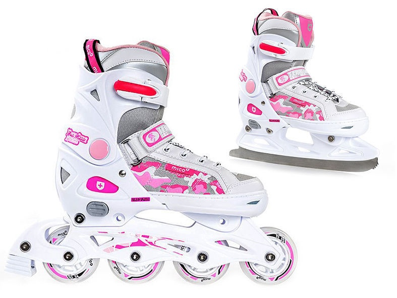 Rulluisud Mico Plus Princess 2in1 White/Pink, 40-43