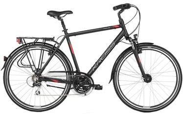 "Jalgratas Kross Trans 3.0 M 28"" Black Red Silver Matte 18"