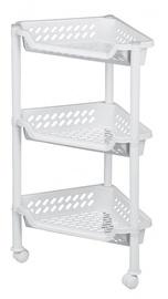 Plast Team Triangular Trolley With 3 Baskets 38.5x26x15/68cm White