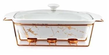 Mondex Elegant Kitchen Dish With Heat Marble White 3l