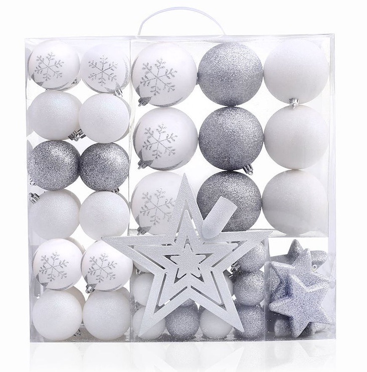 Jõulupuu ehe DecoKing Lux White/Silver, 76 tk
