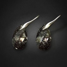 Diamond Sky 925 Sterling Silver Earrings Baroque Black Patina with Crystals From Swarovski