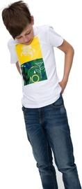 Audimas Junior Short Sleeve Tee White Green Yellow 140cm