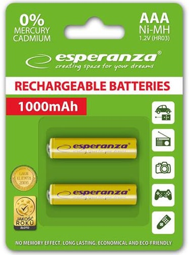 Esperanza Rechargaeble Batteries 2x AAA 1000mAh Yellow