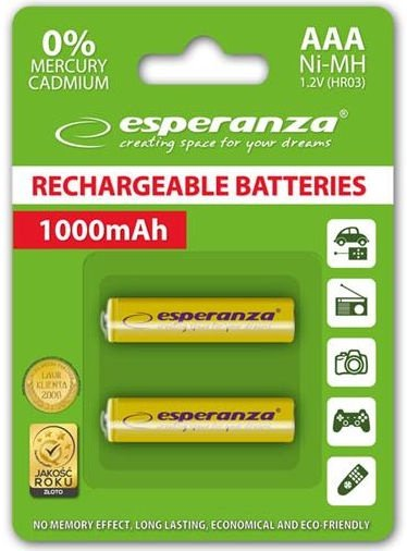 Esperanza Rechargeable Batteries 2x AAA 1000mAh Yellow