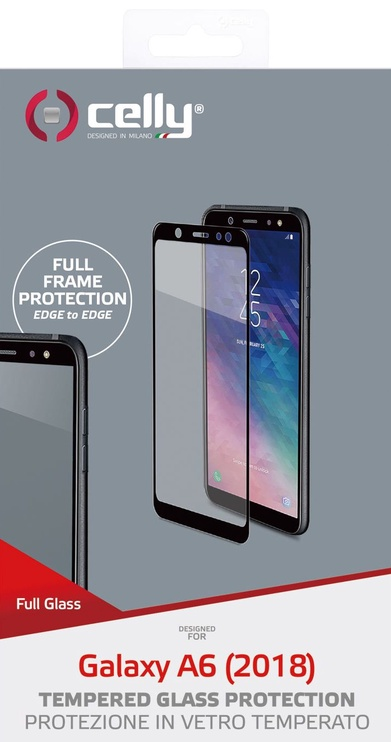 Celly Full Glass Screen Protector For Samsung Galaxy A6 Black