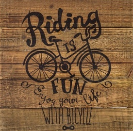 Home4you Wood Print Picture 40x40 Lifestyle Bicycle