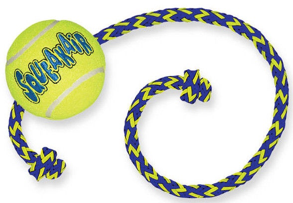 Kong Squeaker Tennis Ball With Rope Medium