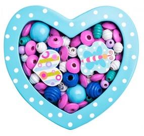 Käevõrude valmistamise komplekt Woodyland Wooden Beads Small Turquoise Heart