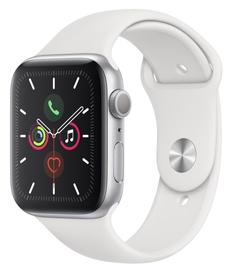Apple Watch Series 5 44mm GPS Silver Aluminium Case with White Sport Band S/M and M/L