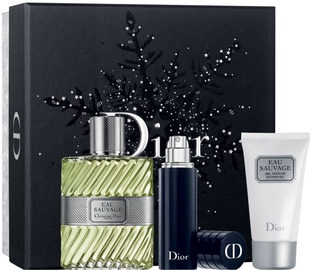 Komplekt meestele Christian Dior Eau Sauvage 100 ml EDT + 50 ml Shower Gel + 10 ml Refillable Spray