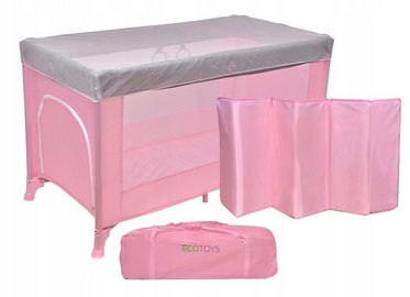 EcoToys Travel Cot with Mosquito Nets Pink