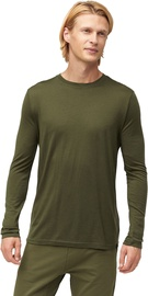 Audimas Fine Merino Wool Long Sleeve Shirt Olive Night S