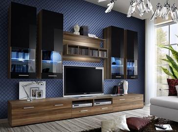 ASM Dorade Living Room Wall Unit Set Plum/Black