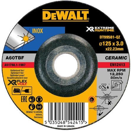 DeWALT DT99581-QZ XR Extreme Runtime Grinder Disc Inox 125mm