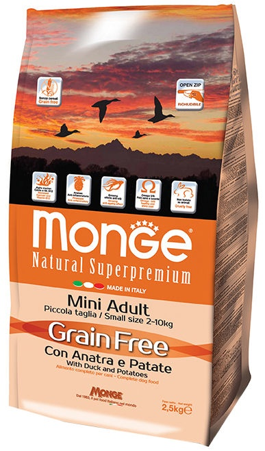 Monge Grain Free Mini Adult with Duck and Potatoes 2.5kg