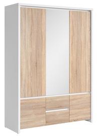 Riidekapp Black Red White Kaspian White&Sonoma Oak, 153.5x55.5x211 cm, peegliga
