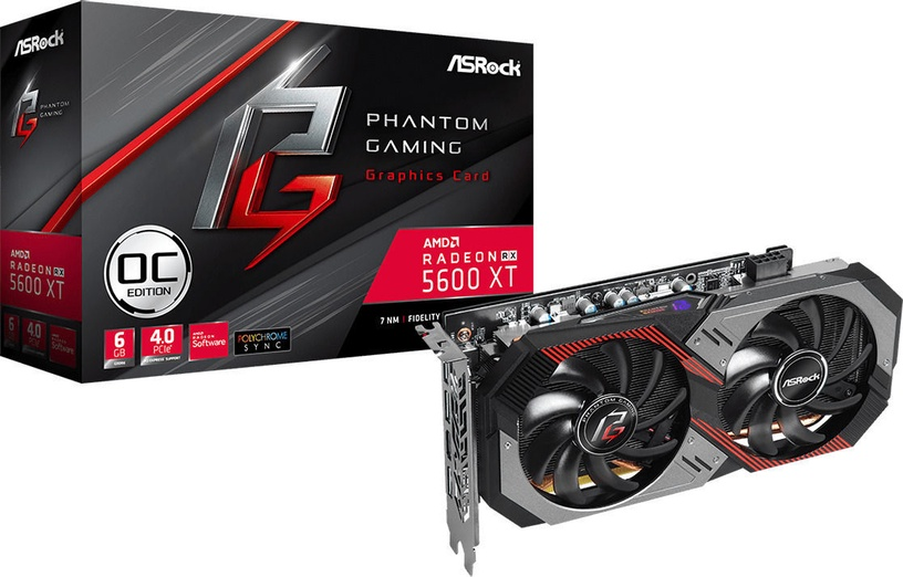 ASRock Radeon RX 5600 XT Phantom Gaming D2 OC 6GB GDDR6 PCIE RX5600XTPGD26GO