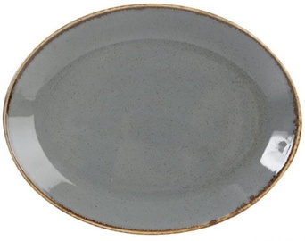 Porland Seasons Oval Plate 27.2x36cm Dark Grey