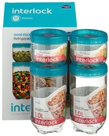 Lock&Lock Food Container Set 4PCS Interlock 2x500ml And 2x1L