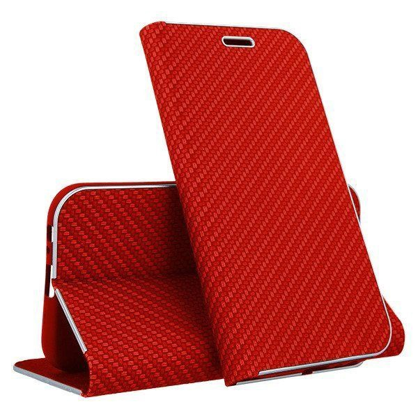 Mocco Carbon Leather Book Case For Huawei P30 Lite Red
