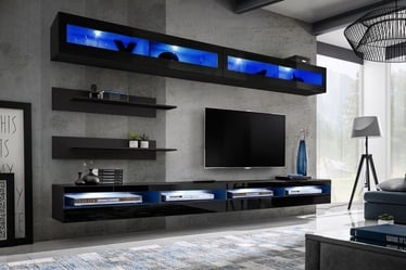 ASM Fly T5 Living Room Wall Unit Set Black
