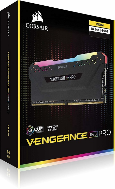 CORSAIR Vengeance RGB Pro Black Series 64GB 3200MHz CL16 DDR4 KIT OF 8 CMW64GX4M8C3200C16