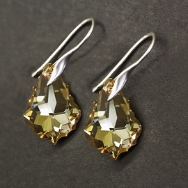 Diamond Sky Earrings With Crystals From Swarowski Baroque Golden Shadow